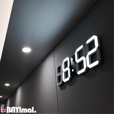 3D Digital LED Night Wall Clock Alarm Watch Display Temperature Modern USB NEW
