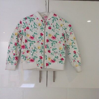Floral Zipped Bomber Jacket, F&F, Age 6-7 Years
