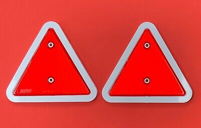 2 x Red Triangle Reflectors White Edge for Fence,Posts,Garden Walls,Driveway