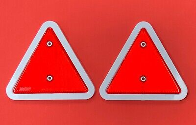 "2 x Red Triangle Reflectors White Edge for Trailers, Caravans, LightBoards ""NEW"""