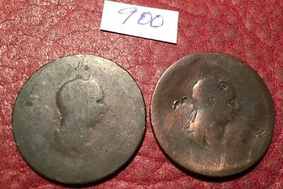 2 George Iii Copper Halfpennies Dates Obscure(1805-07) - Job Lot 900