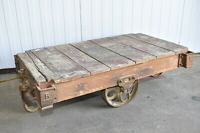 Factory CARTS, Coffee Table , Industrial Authentic With Great History *(D)