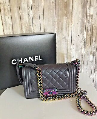 63806165b93c CHANEL Purple Mermaid Iridescent Rainbow Small Boy Shoulder Bag Collector  RARE