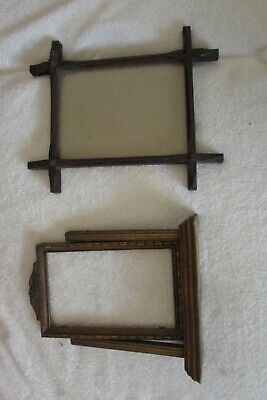 Two antique wooden picture frames