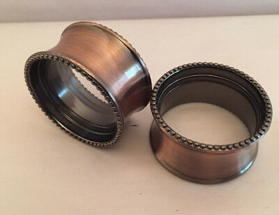 Antique Copper Band Napkin Ring with Beaded Rims