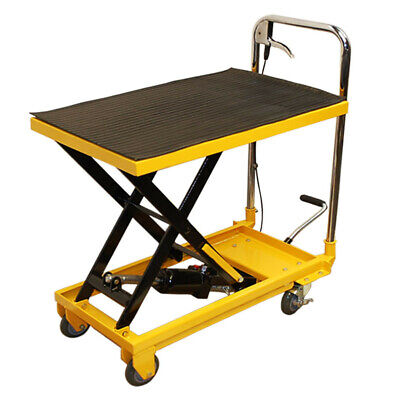 """Heavy Duty Mobile 330LB Hydraulic Table Lift 9"""" to 28"""" Jack Cart"""