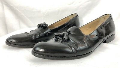 2a77bc82fcf7c VINTAGE BALLY MARCEAU Calfskin Tassel Black Loafers Size US 14 D Made In  Italy