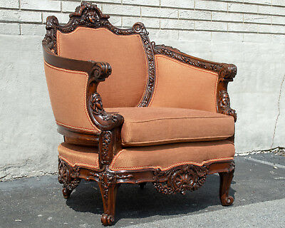 Walnut French Living Room Chair Antique Newly Upholstered & Restored