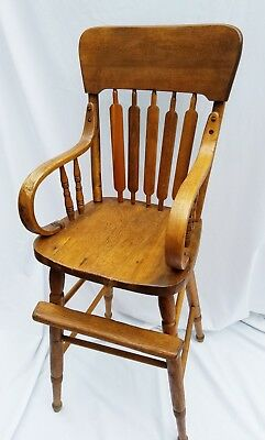 "Antique Hand Made Oak Bentwood Wood High Chair 38"" in Back YOU PICK UP or USHIP"