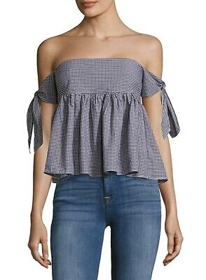 7062b1a6926 Saks Fifth Avenue RED Gingham Off-the-Shoulder Tie Sleeve Top Black & White
