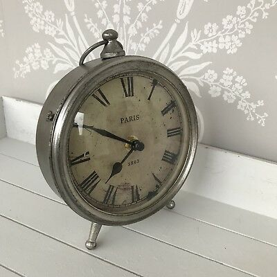 Silver shabby chic mantel mantle clock desk table gift clock mantel Paris rustic