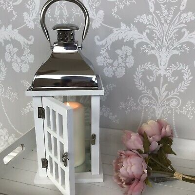 Stunning white And Silver Lantern candle holder Indoor Outdoor Large 32cm
