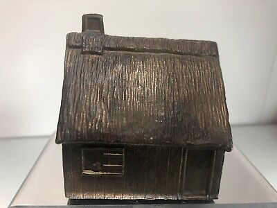 Brown Cottage  Metal Still Bank For Plymouth Plantation Nice Condition