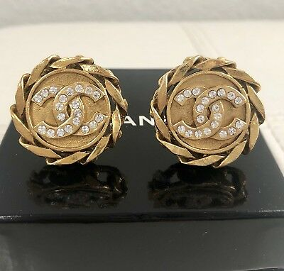 Vintage Chanel Crystal CC Logo Gold Tone Large Round Chain Clip Earrings