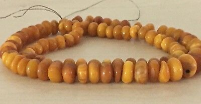 Genuine Antique Natural Amber Prayer Beads Rosary Necklace , Ancient Amber 44 gr