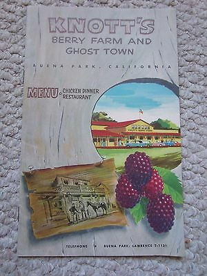 Vintage 1950s Knotts Berry Farm and Ghost Town Chicken Dinner Restaurant Menu