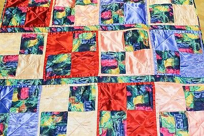 """Handmade Lap Throw Blanket Quilted Satin Blue Peach Watercolor Abstract 64"""" 44"""""""
