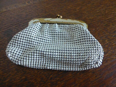 vintage mesh coin change money purse white enamel brass clasp
