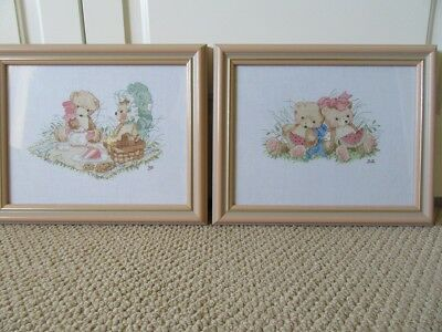 Cross Stitch - Framed/Glass Picture x 2 - Suitable - Baby Boy or Girl - So Cute