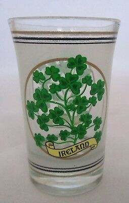 IRELAND FOUR LEAF CLOVER 1.5 oz Frosted Shot glass