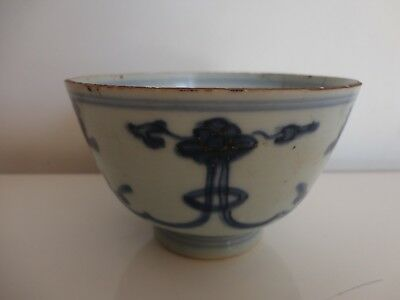 Antique Chinese Kangxi Blue & White Porcelain Buddhist Lotus Bowl
