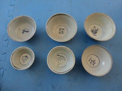 6 Antique Chinese blue & white bowls, Ming dynasty, 16th century