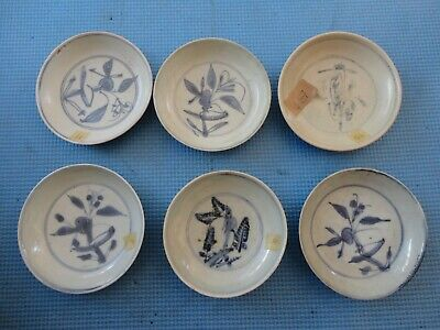 6 antique Chinese blue and white dishes, Ming dynasty, C16th century