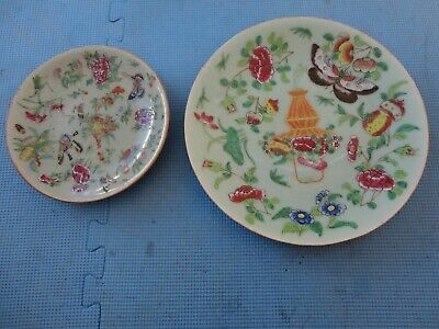 2 antique Chinese porcelain famille rose, celadon ground plates