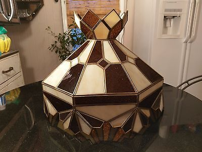 Gorgeous Antique Art Deco Large Leaded Glass Shade