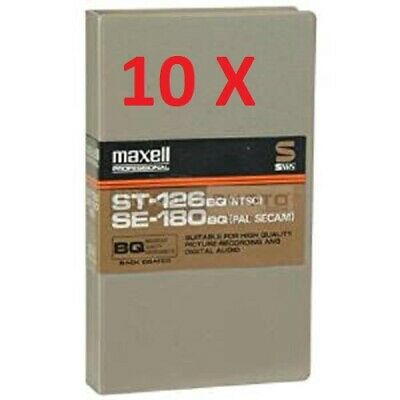 Lot of 10 MAXELL Professional ST-126 SE-180 BQ S-VHS Cassettes NEW SEALED