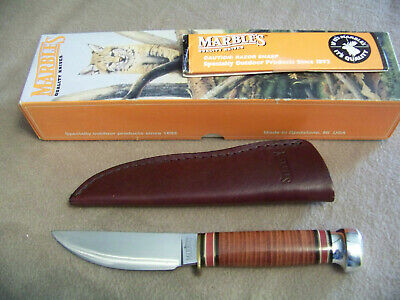 Marbles Plainsman Stacked Leather Fixed Blade Knife Gladstone Mi Made In Usa Nib