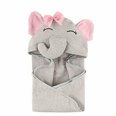 Hudson Baby Animal Face Hooded Towel for Girls, Pretty Elephant Bath Grooming