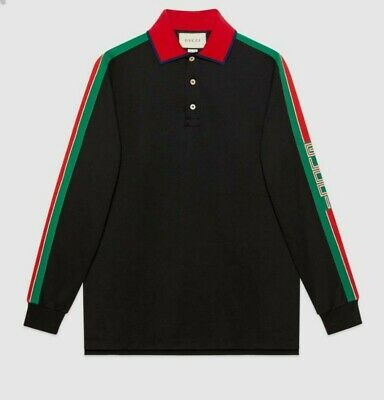 a21ad96b7 Gucci Men's Black Polo T-Shirt Long Sleeve With Gucci Stripe Size M NWT $980
