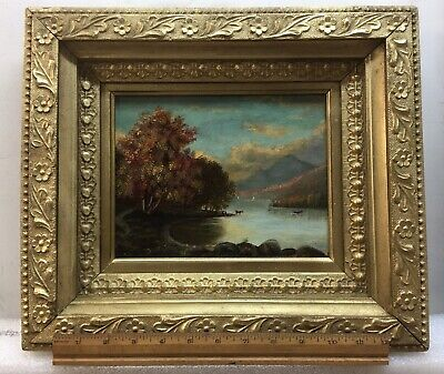 antique oil painting landscape 1880s With Gorgeous Frame! Signed!