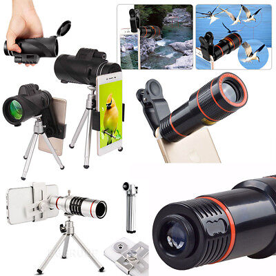40X/18X/12X/8X Clip-On Zoom Lens Telescope Telephoto For Samsung Cell Phones