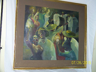 "James Lallemand Listed Artist Original Oil On Canvas""Fiesta"" Surrealist Painting"