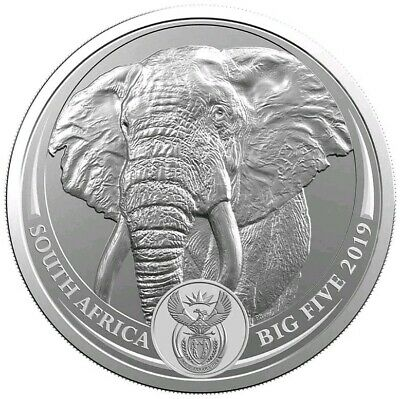 2019 5 Rand South Africa BIG FIVE ELEPHANT 1 Oz Silver Coin.
