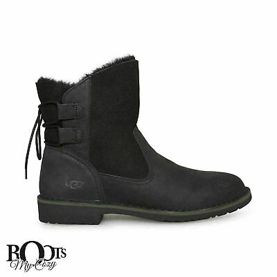 0a6e08facff UGG NAIYAH BLACK Leather Suede Shearling Women'S Ankle Boots Size Us ...