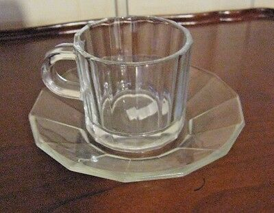 VTG 'BORMIOLI' CLEAR GLASS DEMITASSE CUP & SAUCER  Made in Italy