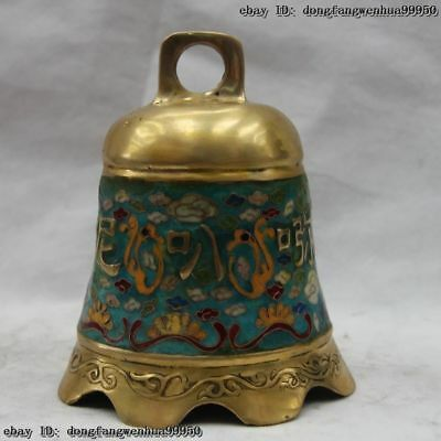 Chinese Bronze Copper Cloisonne Buddhism Mantra Om Mani Padme Hung Buddha bell