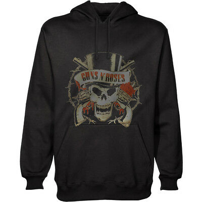 GUNS N ROSES Hoodie Felpa Distressed Skull OFFICIAL MERCHANDISE