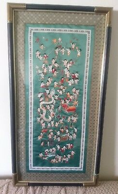 VINTAGE ASIAN SILK EMROIDEDY  FRAMED ART 14X27in CHINESE NEW YEAR