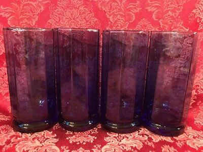 Set of 8 Vintage ANCHOR HOCKING Essex Cobalt Blue 10 Sided Tumbler Glasses 16oz