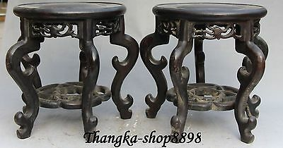 """8"""" Old Chinese Folk collector Wood Carving stool footstool Stools Pair Statue"""