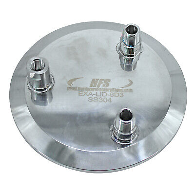 """HFS(R) 6"""" LID w/ 1 X 1/4 Female NPT and 2 X 3/8 MNPT 304 Stainless Steel"""