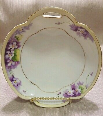 """Antique Nippon Candy/Nut Hand Painted Floral Dish, 6 5"""", Rising Sun Stamp"""