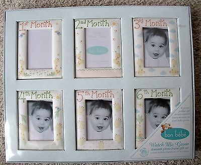 NIP Bon Bebe Watch Me Grow 6 Month Photo Frame Gift Set - Giraffes - Boy or Girl