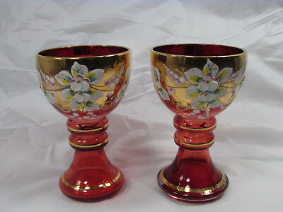 2 Bohemian Czech Roemer Glasses Hand Painted Flowers Red Gold Gilt Enamel 6 Oz