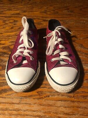 6714b5559770 Converse All Stars Low Top Sparkle Glitter Pink Shoes Size Youth 1 Euc