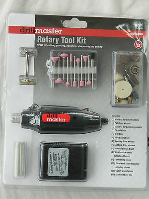 New Drill Master Brand 80 Piece Rotary Tool Kit # 68986 / Factory Sealed